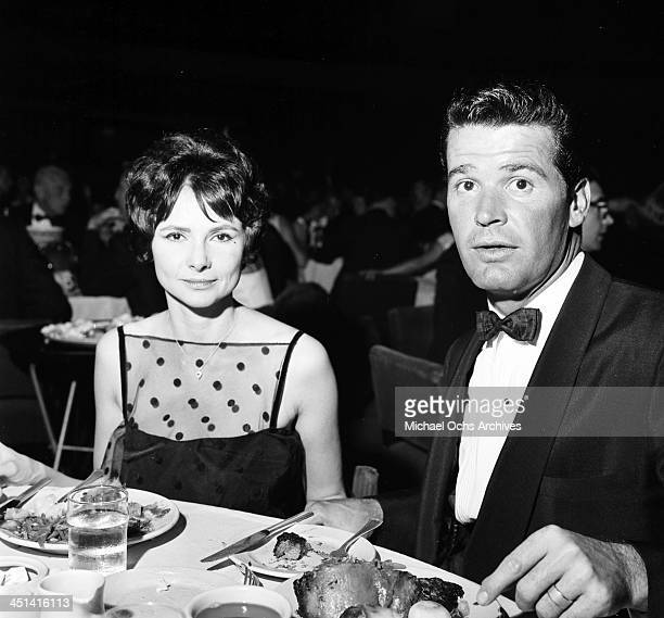 Actor James Garner with his wife Lois Clarke attends a party in Los Angeles, California.