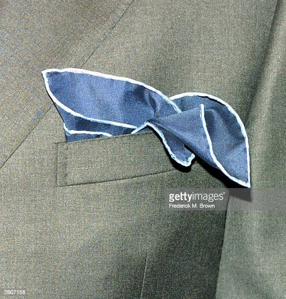 Actor James Hyde displays a pocket handkerchief during the grand opening of the Brooks Brothers clothing store located on Rodeo Drive on October 16,...