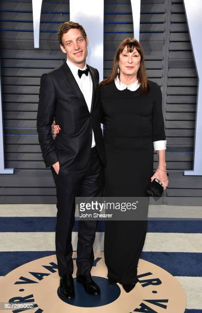 Actor James Jagger and actress Anjelica Huston attend the 2018 Vanity Fair Oscar Party hosted by Radhika Jones at Wallis Annenberg Center for the...