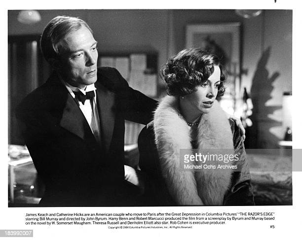 Actor James Keach and actress Catherine Hicks on set of the Columbia Pictures movie The Razor's Edge in 1984