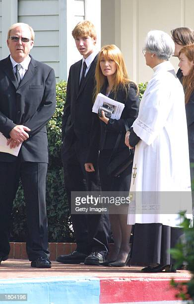 Actor James Keach and wife actress Jane Seymour arrive at the funeral of actor Stacy Keach Sr at Forest Lawn Cemetary Hollywood Hills on February 19...