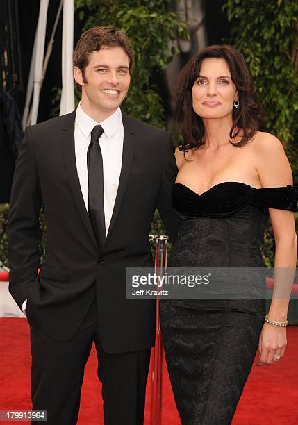 Actor James Marsden and Actress Lisa Linde arrive to the 14th Annual Screen Actors Guild Awards at the Shrine Auditorium on January 27 2008 in Los...