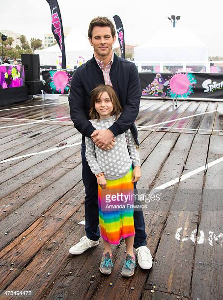 Actor James Marsden and his daughter Mary arrive at the Nintendo Splatoon launch party at Santa Monica Pier on May 15 2015 in Santa Monica California