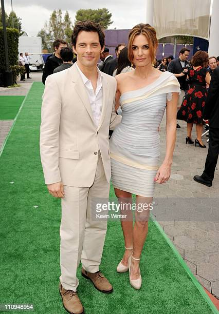 Actor James Marsden and his wife Lisa Linde arrive at the premiere of Universal Pictures and Illumination Entertainment's HOP at CityWalk on March 27...