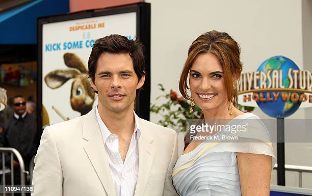 Actor James Marsden and his wife Lisa Linde attend the premiere of Universal Pictures' and Illumination Entertainment's Hop on March 27 2011 in...