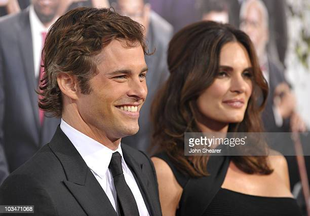 Actor James Marsden and Lisa Linde arrive to the Death At A Funeral Los Angeles Premiere at Pacific's Cinerama Dome on April 12 2010 in Hollywood...