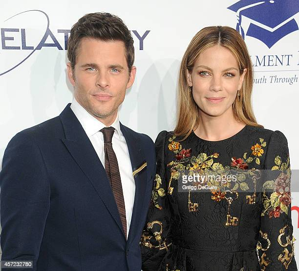 Actor James Marsden and Michelle Monaghan arrive at the 20th Annual Fulfillment Fund Stars Benefit Gala at The Beverly Hilton Hotel on October 14...