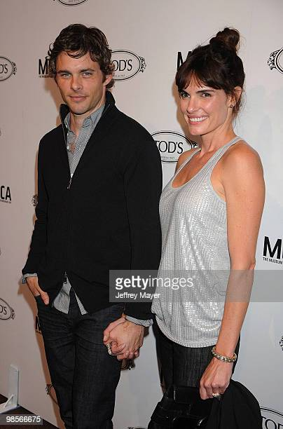 Actor James Marsden and wife Lisa Linde arrive at the Tod's Beverly Hills Reopening To Benefit MOCA at Tod's Boutique on April 15 2010 in Beverly...