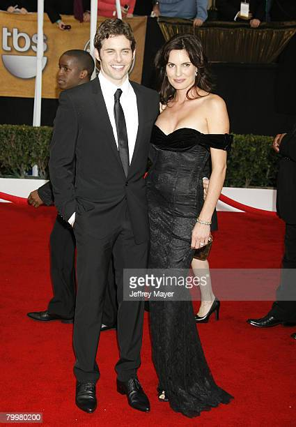 Actor James Marsden and wife Lisa Linde arrive to the 14th Annual Screen Actors Guild Awards at the Shrine Auditorium on January 27 2008 in Los...