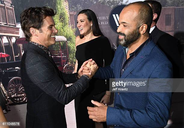 Actor James Marsden executive producer/writer Lisa Joy and actor Jeffrey Wright attend the premiere of HBO's Westworld at TCL Chinese Theatre on...