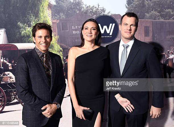 Actor James Marsden executive producer/writer Lisa Joy and executive producer/writer/director Jonathan Nolan attend the premiere of HBO's Westworld...