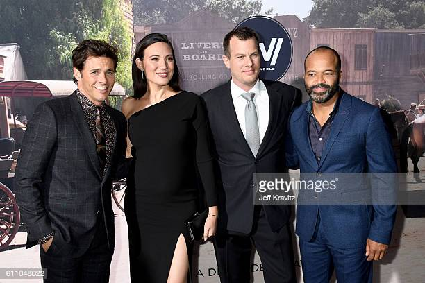 Actor James Marsden Executive producer/writer Lisa Joy Executive producer/writer/director Jonathan Nolan and actor Jeffrey Wright attend the premiere...