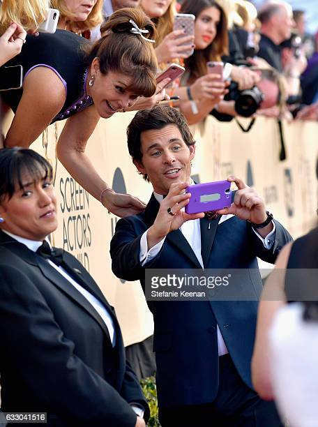 Actor James Marsden poses for a 'selfie' with fans during The 23rd Annual Screen Actors Guild Awards at The Shrine Auditorium on January 29 2017 in...