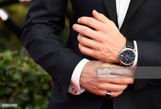 Actor James Marsden watch ring cufflink manicure and fashion details attends The 23rd Annual Screen Actors Guild Awards at The Shrine Auditorium on...