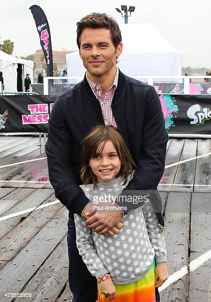 Actor James Marsden with his daughter Mary Marsden attend the Nintendo Splatoon launch party at Santa Monica Pier on May 15 2015 in Santa Monica...