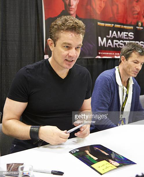 Actor James Marsters poses during an autograph session at the first Wizard World Comic Con at the Minneapolis Convention Center on May 3 2014 in...