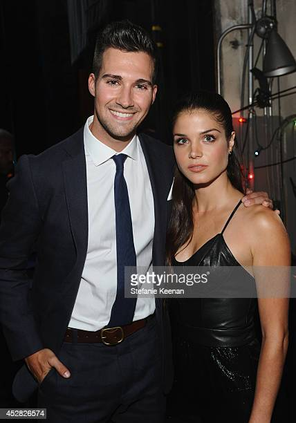 Actor James Maslow and actress Marie Avgeropoulos in the green room at the 2014 Young Hollywood Awards brought to you by Samsung Galaxy at The...