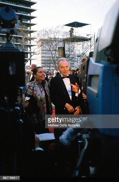 Actor James Mason with wife Clarissa Kaye arrive to the 55th Academy Awards at Dorothy Chandler Pavilion in Los AngelesCalifornia
