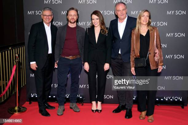 """Actor James McAvoy, actress Claire Foy, director Christian Carion and screenwriter Laure Irrmann attend the """"My Son"""" premiere at Cinema Gaumont..."""