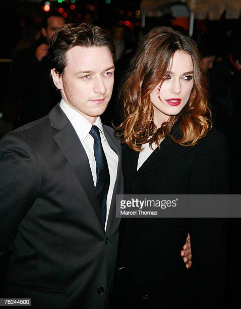 Actor James McAvoy and actress Keira Knightley attend Atonement screening hosted by the Cinema Society and Chanel at the IFC Center on December 3...