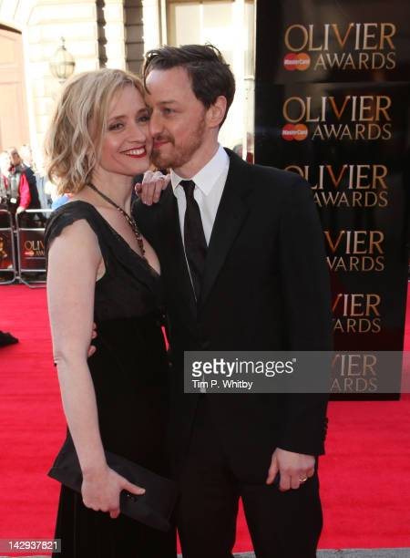 Actor James McAvoy and AnneMarie Duff attend the 2012 Olivier Awards at The Royal Opera House on April 15 2012 in London England