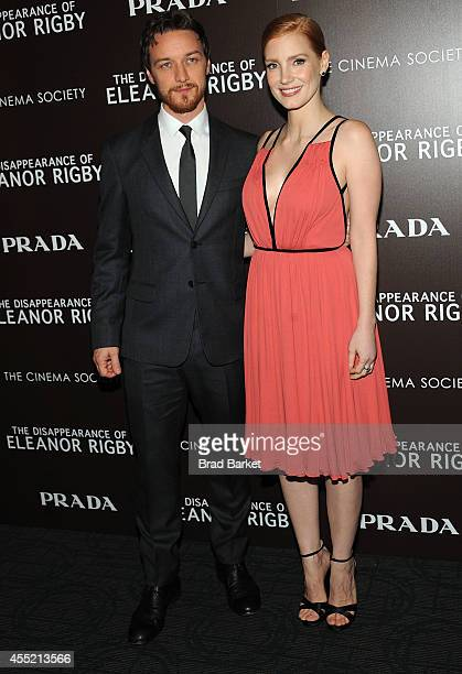 Actor James McAvoy and Jessica Chastain attend Prada And The Cinema Society Host A Screening Of The Weinstein Company's 'The Disappearance Of Eleanor...