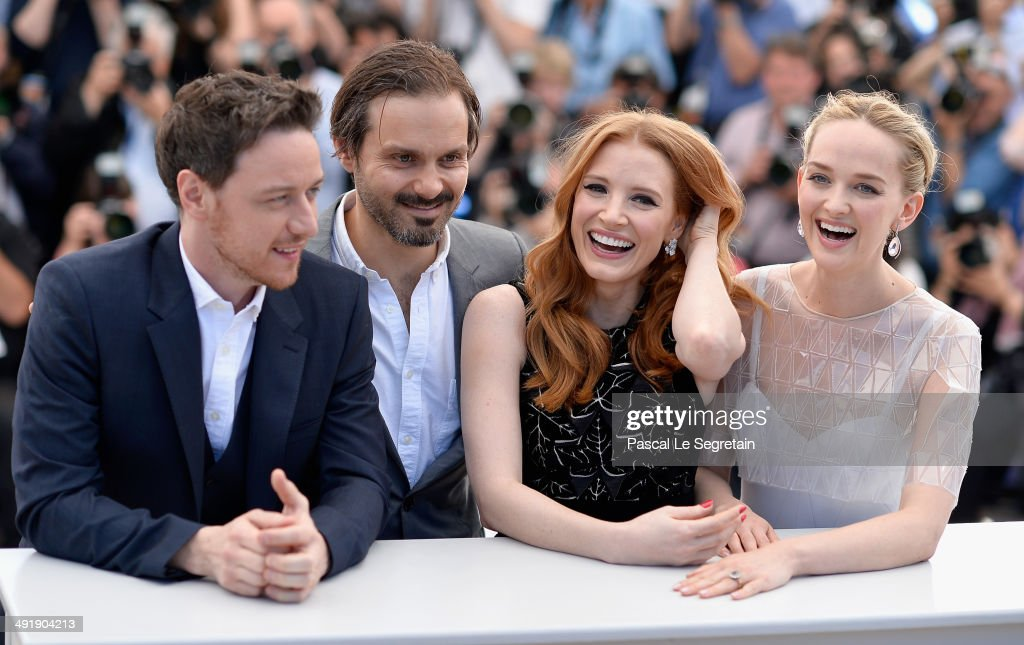 Actor James McAvoy, director/producer Ned Benson, actors Jessica Chastain and Jess Weixler attend 'The Disappearance of Eleanor Rigby' photocall at the 67th Annual Cannes Film Festival on May 18, 2014 in Cannes, France.