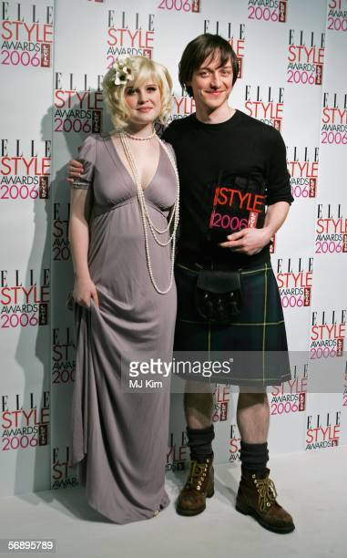 Actor James McAvoy poses backstage in the Awards Room with the Best Male TV Star Award with singer Kelly Osbourne at the ELLE Style Awards 2006 the...