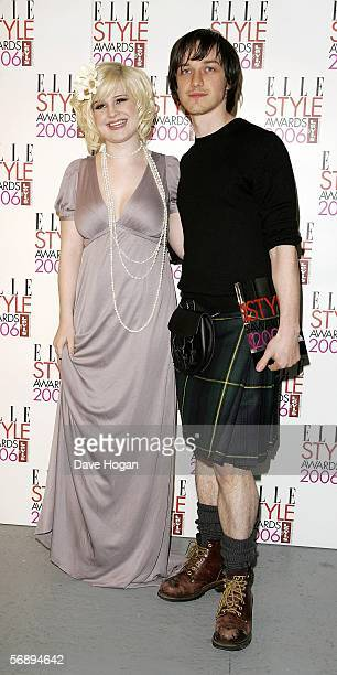 Actor James McAvoy poses backstage in the Awards Room with the TV Star award presented by Kelly Osbourne at the ELLE Style Awards 2006 the fashion...