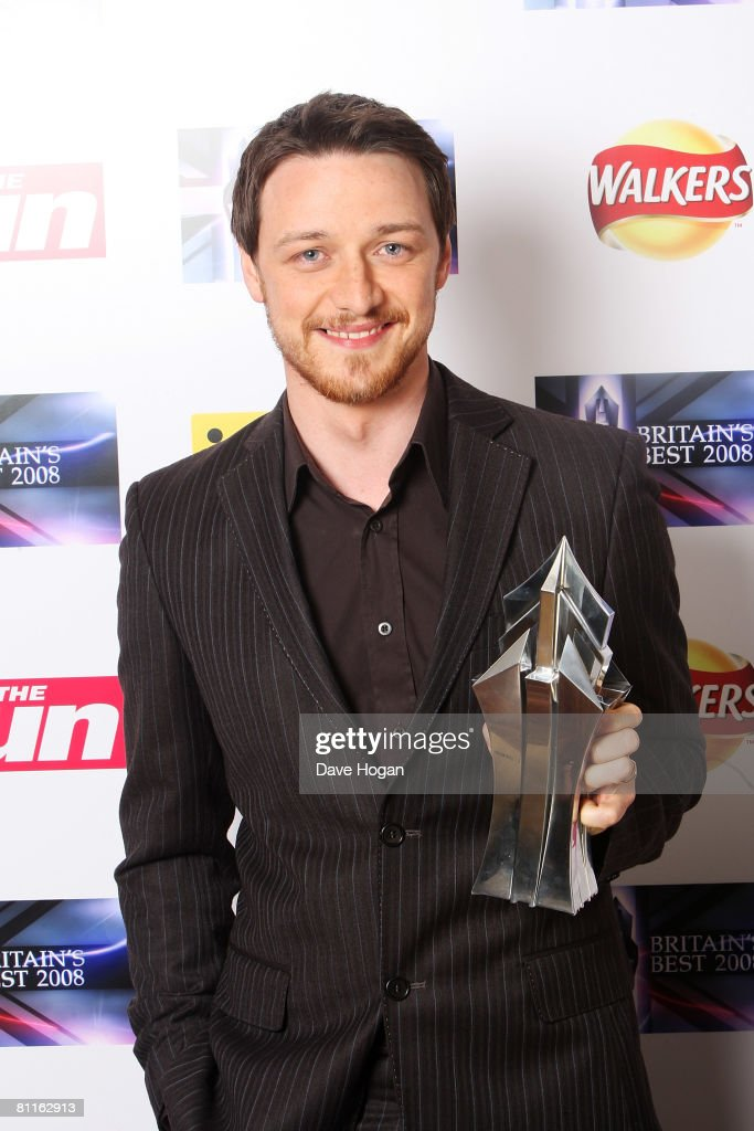 Actor James McAvoy poses in front of the winners' boards with the Britain's Best in Film Award at the Britain's Best 2008 Awards at London Television Studios on May 18, 2008 in London, England. The award ceremony honours outstanding Britons in categories including business, art, television, music, film, sport and fashion.
