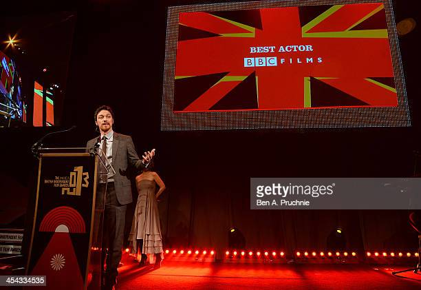 Actor James McAvoy receives the award for Best Actor as he attends the ceremony for the Moet British Independent Film Awards at Old Billingsgate...