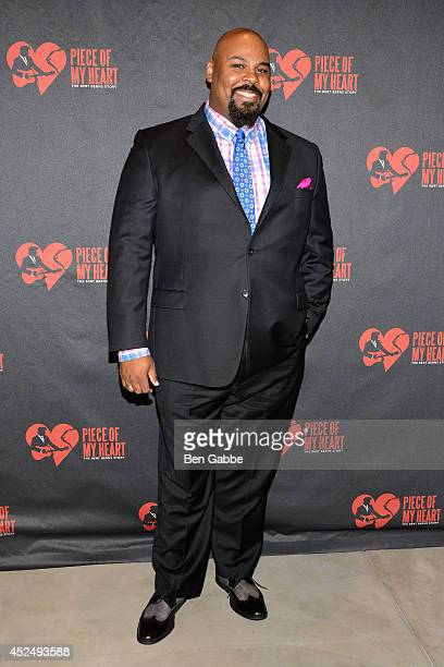 Actor James Monroe Iglehart attends Piece of My Heart The Bert Berns Story opening night at The Pershing Square Signature Center on July 21 2014 in...
