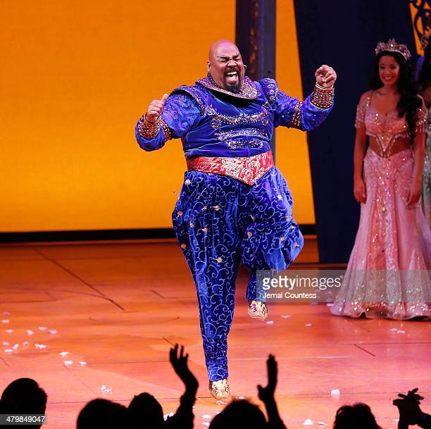 Actor James Monroe Iglehart takes a bow during curtain call at the the Aladdin On Broadway Opening Night at New Amsterdam Theatre on March 20 2014 in...