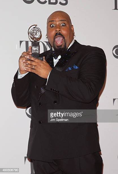 Actor James Monroe Iglehart winner of best performance by an actor in a featured role in a musical attends American Theatre Wing's 68th Annual Tony...