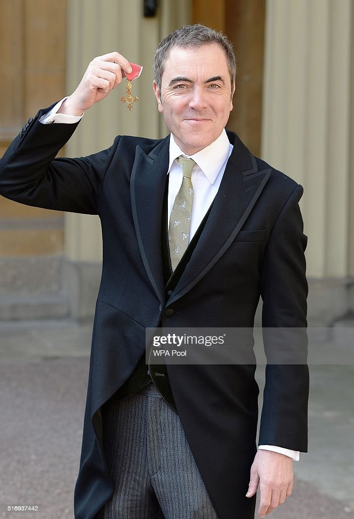 Actor James Nesbitt with the OBE (Officer of the Order of the British Empire) he was awarded by Queen Elizabeth II during an Investiture ceremony for services to drama and to the community in Northern Ireland at Buckingham Palace on March 22, 2016 in London, England.