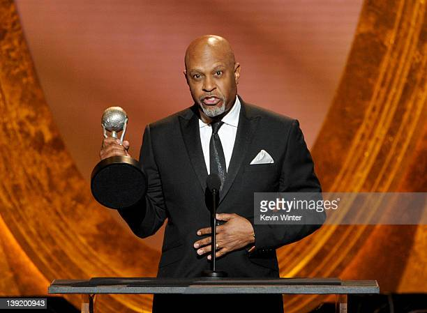 Actor James Pickens Jr accepts the Outstanding Supporting Actor in a Drama Series award for 'Grey's Anatomy' onstage at the 43rd NAACP Image Awards...