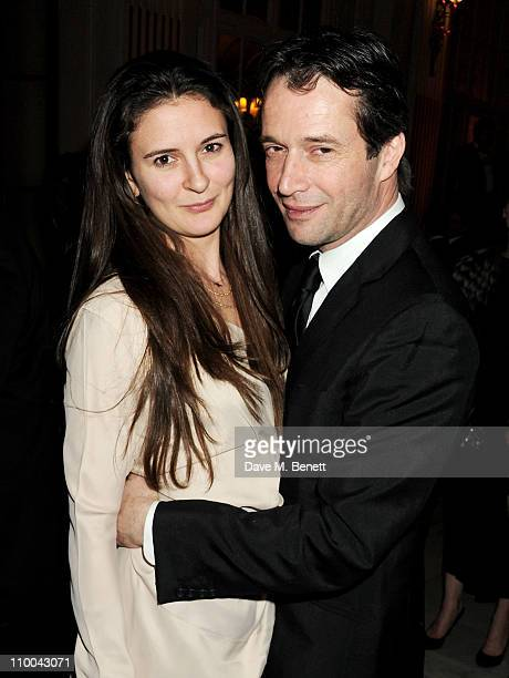 Actor James Purefoy and Jessica Adams attend a post-awards gala party following The Olivier Awards 2011 at The Waldorf Hilton Hotel on March 13, 2011...