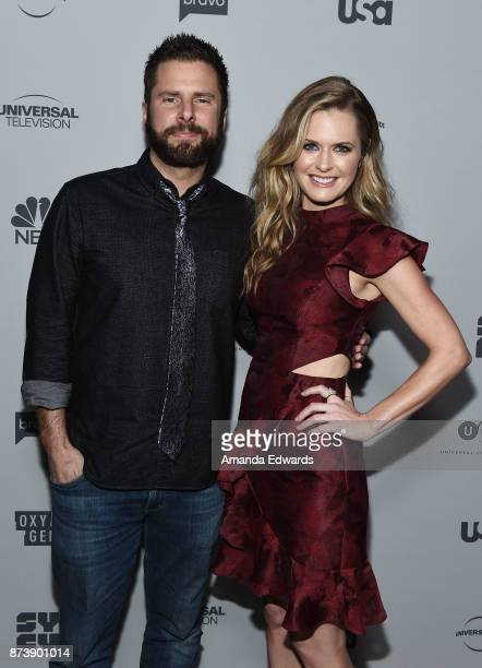 Actor James Roday and actress Maggie Lawson arrive at NBCUniversal's Press Junket at Beauty Essex on November 13 2017 in Los Angeles California