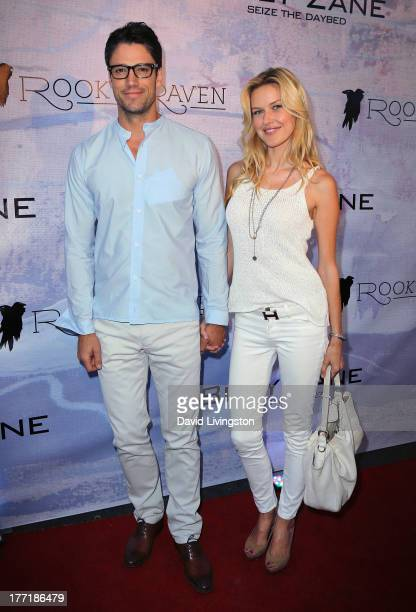 Actor James Scott and model Kaitlin Robinson attend the opening night of Billy Zane's Seize The Day Bed solo art exhibition at G Gulla Jonsdottir...