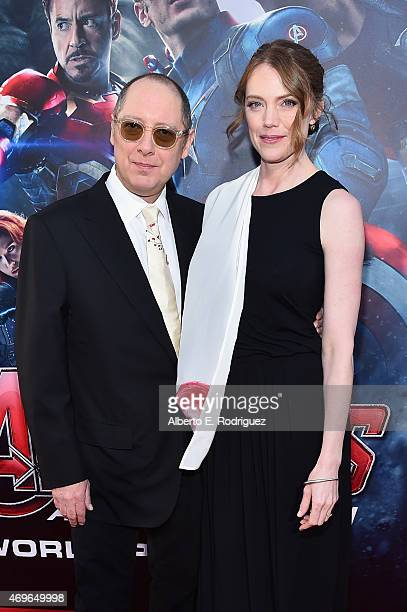 Actor James Spader and actress Leslie Stefanson attend the world premiere of Marvel's Avengers Age Of Ultron at the Dolby Theatre on April 13 2015 in...