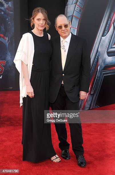 Actor James Spader and Leslie Stefanson arrive at the Los Angeles premiere of Marvel's Avengers Age Of Ultron at Dolby Theatre on April 13 2015 in...