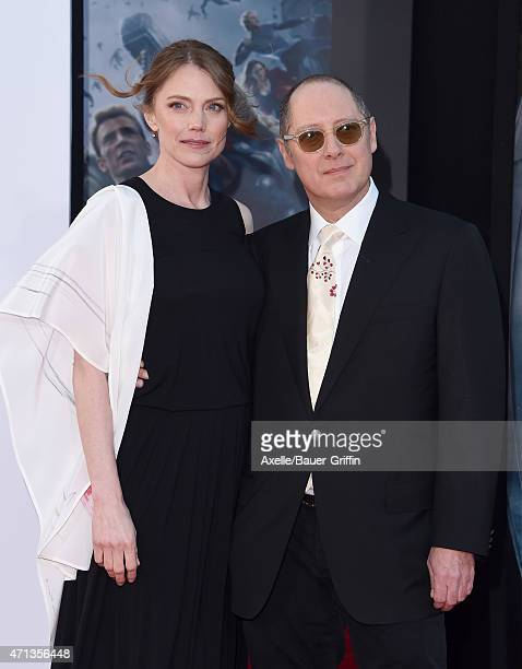 Actor James Spader and Leslie Stefanson arrive at the Los Angeles premiere of Marvel's 'Avengers Age Of Ultron' at Dolby Theatre on April 13 2015 in...
