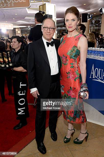 Actor James Spader and model Leslie Stefanson attend the 72nd Annual Golden Globe Awards at The Beverly Hilton Hotel on January 11 2015 in Beverly...