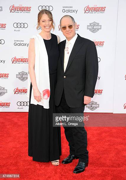 Actor James Spader and wife Leslie Stefanson arrive for the Premiere Of Marvel's Avengers Age Of Ultron held at Dolby Theatre on April 13 2015 in...