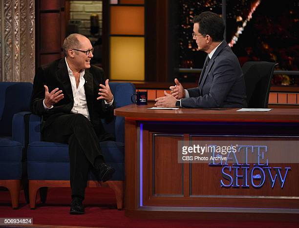 Actor James Spader on The Late Show with Stephen Colbert Wednesday January 20 2016 on the CBS Television Network