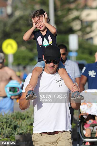 Actor James Stewart enjoys time with his daughter Scout Edie in Bondi on February 7 2016 in Sydney Australia