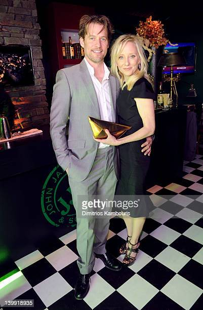 Actor James Tupper and actress Anne Heche visit the Jameson tent at the 2012 Film Independent Spirit Awards at Santa Monica Pier on February 25 2012...