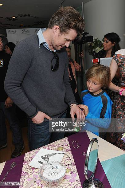 Actor James Tupper and son Atlas pose with Silpada at Kari Feinstein's Oscars Style Lounge at Mondrian Los Angeles on February 24 2012 in West...