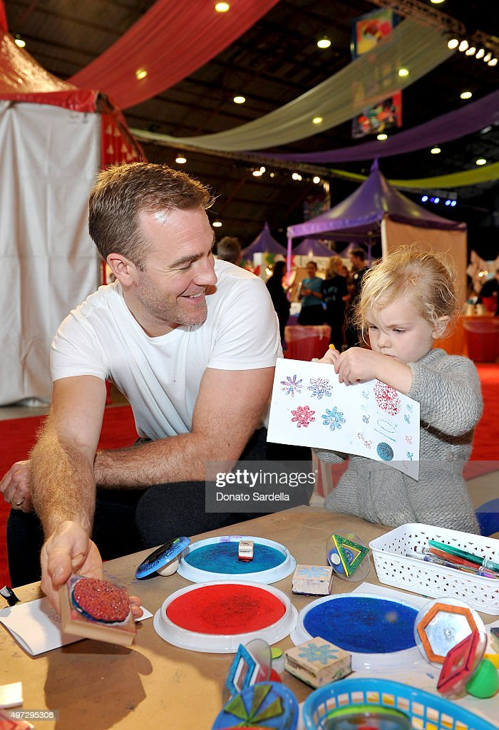 Actor James Van Der Beek (L) and Annabel Leah Van Der Beek attend Express Yourself 2015 to benefit P.S. ARTS, providing arts education to 25,000 public school students each week at Barker Hangar on November 15, 2015 in Santa Monica, California.