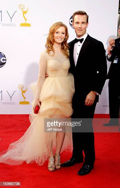 Actor James Van Der Beek and guest arrive at the 64th Primetime Emmy Awards at Nokia Theatre L.A. Live on September 23, 2012 in Los Angeles,...